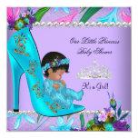 Baby Shower Girl Pink Teal Blue Purple Shoe 13 Cm X 13 Cm Square Invitation Card