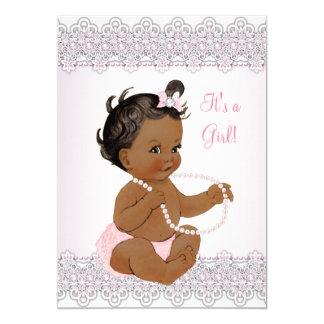 Baby Shower Girl Pink White Lace Pearl Ethnic 13 Cm X 18 Cm Invitation Card