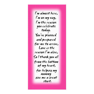 Baby shower girl place cards inspirational quotes customised rack card