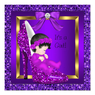 Baby Shower Girl Purple Glitter Shoe Card