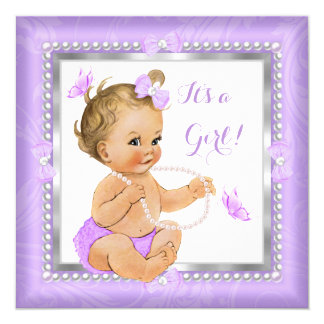 Baby Shower Girl Purple Pearl Butterfly Blonde 13 Cm X 13 Cm Square Invitation Card