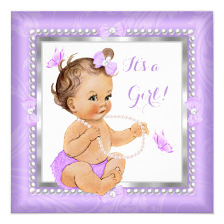 Baby Shower Girl Purple Pearl Butterfly Brunette 13 Cm X 13 Cm Square Invitation Card