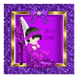 Baby Shower Girl Purple Pink Baby in Shoe 13 Cm X 13 Cm Square Invitation Card