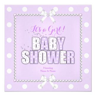 Baby Shower Girl Purple Polka Dots Pearls Bow 13 Cm X 13 Cm Square Invitation Card