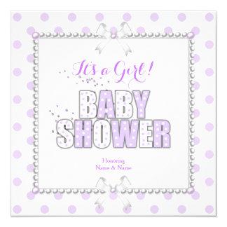 Baby Shower Girl Purple White Polka Dots Pearls 13 Cm X 13 Cm Square Invitation Card