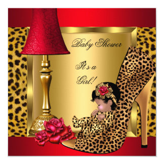 Baby Shower Girl Red Gold Roses Leopard Shoe AA 13 Cm X 13 Cm Square Invitation Card