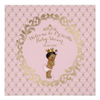 Baby Shower GIRL,Soft pink & gold,royal background