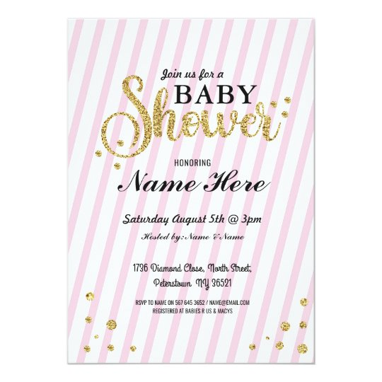 Baby Shower Girl Stripe Pink Gold Glitter Invite