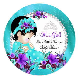 Baby Shower Girl Teal Blue Purple Floral 2 5.25x5.25 Square Paper Invitation Card