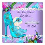 Baby Shower Girl Teal Purple Floral Shoe Blonde 13 Cm X 13 Cm Square Invitation Card