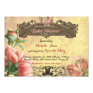 Baby Shower girl,vintage,art-deco,old paper,roses. Card