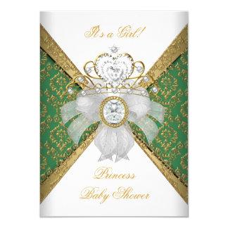 Baby Shower Girl White Green Princess Damask 11 Cm X 16 Cm Invitation Card