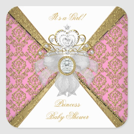 Baby Shower Girl White Pink Princess Damask Square