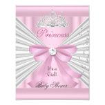 Baby Shower Girl White Pink Princess Tiara 11 Cm X 14 Cm Invitation Card