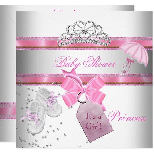 Baby Shower Girl White Pink Princess Tiara Magical