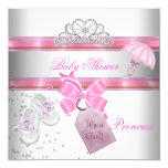 Baby Shower Girl White Pink Princess Tiara Magical 13 Cm X 13 Cm Square Invitation Card