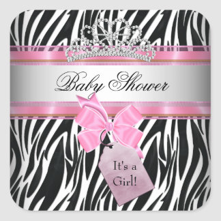 Baby Shower Girl Zebra Pink Princess Black Square Sticker
