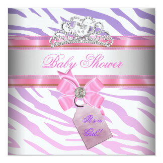 Baby Shower Girl Zebra Pink Purple Princess Card