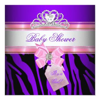 Baby Shower Girl Zebra Pink Purple Princess Invites