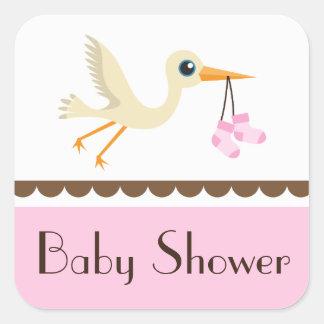Baby shower girls pink stork stickers seals