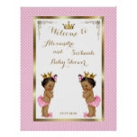 Baby Shower Girls TWINS,pink,elegant,40x52 300pp Poster