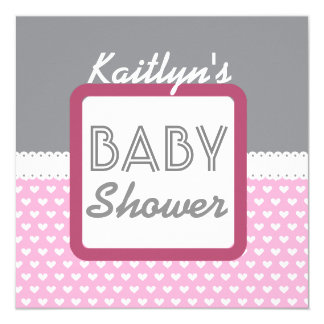 "BABY SHOWER Gray with Pink Hearts A02 5.25"" Square Invitation Card"