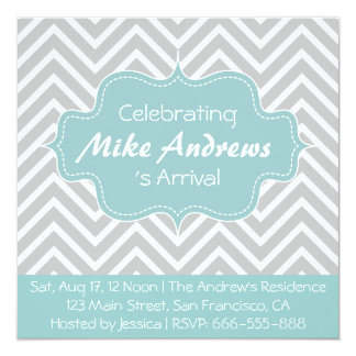 """Baby Shower: Grey and White Chevron Pattern 5.25"""" Square Invitation Card"""