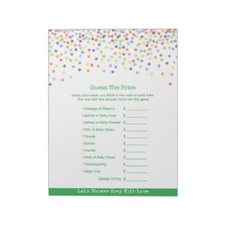 Baby Shower Guess The Price Confetti Game Notepad