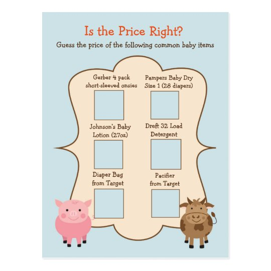 Baby Shower Guess the Price Game- Farm Animals