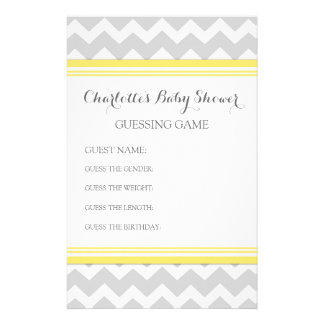 Baby Shower Guessing Game Grey Chevron Stationery