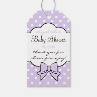 Baby Shower Guest Favor Lavender Polka Dots Gift Tags