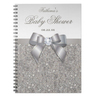 Baby Shower Guestbook Faux Silver Sequins and Bow Notebook