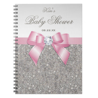Baby Shower Guestbook Faux Silver Sequins Pink Bow Note Books