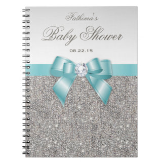 Baby Shower Guestbook Faux Silver Sequins Teal Bow Spiral Notebook