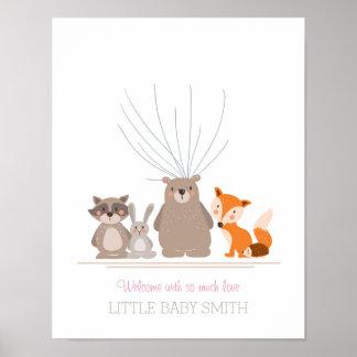 Baby shower guestbook fingerprints woodland pink poster