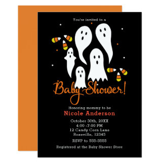 Baby Shower Halloween Party Ghosts & Candy Corn Card