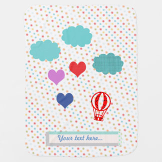Baby Shower Hearts Hot Air Balloon Receiving Blankets