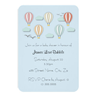 Baby Shower Hot Air Balloons Papercut Style Card