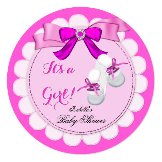 "Baby Shower Hot Pink Girl Cute Girl Booties 5.25"" Square Invitation Card"