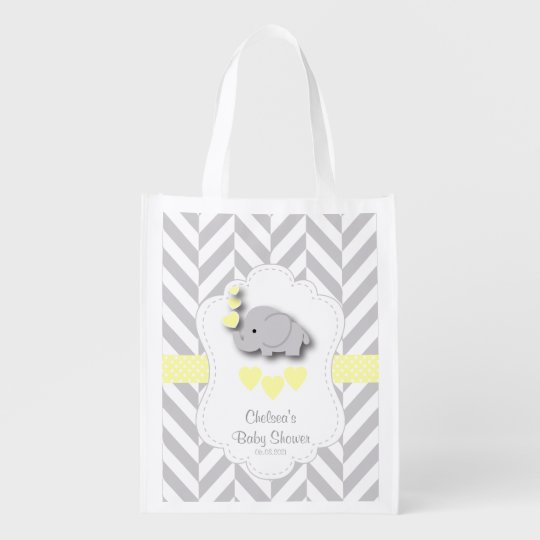 Baby Shower in Grey Chevron and Yellow Elephant