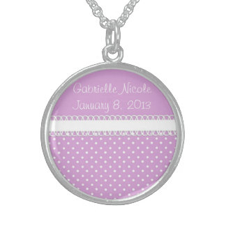 Baby Shower in Pink Sterling Silver Necklaces