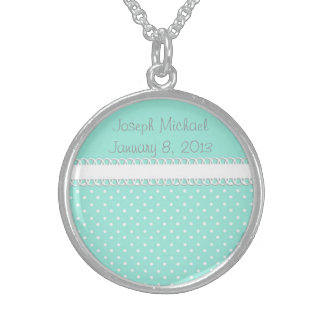 Baby Shower in Teal Sterling Silver Necklaces