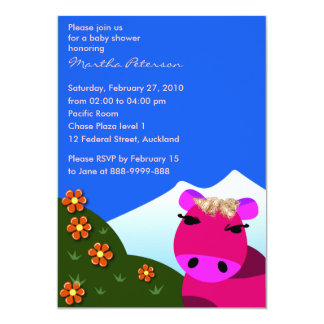 Baby shower invitation: 003 Moo 13 Cm X 18 Cm Invitation Card