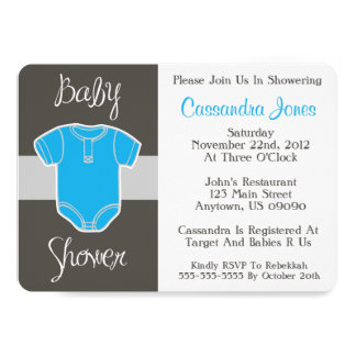 Baby Shower Invitation (Baby Jumper Outfit Blue)