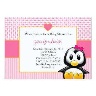 Baby Shower Invitation - Baby Penquin Heart Girl