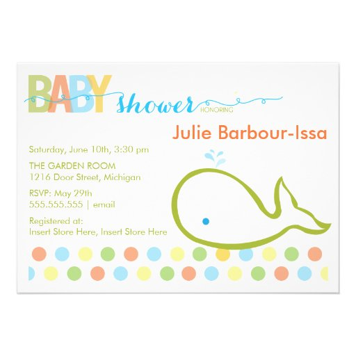 Baby Shower Invitation Baby Whale 13 Cm X 18 Cm
