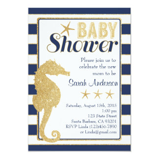 Baby Shower Invitation Beach Theme-Gold Seahorse