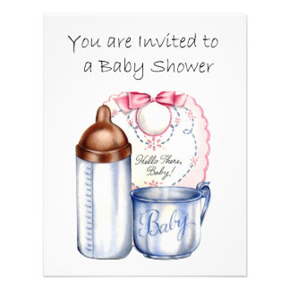 Baby Shower invitation bib bottle and cup