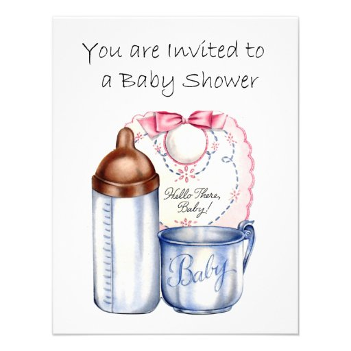 Baby Shower invitation bib, bottle and cup
