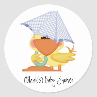 Baby Shower Invitation-Blue Duck/Quackup Classic Round Sticker